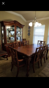 Solid Wood Table with 8 chairs and matching Hutch in Baytown, Texas