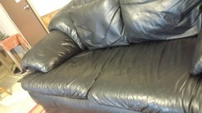 Leather Couch (black) in Fort Riley, Kansas