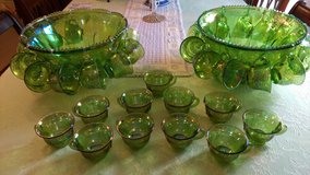Carnival glass punch bowls (2) w/ 33 cups in Warner Robins, Georgia