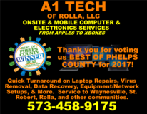 A1 TECH OF ROLLA PROVIDES MOBILE & ONSITE SERVICE - VOTED BEST IN PHELPS COUNTY in Rolla, Missouri