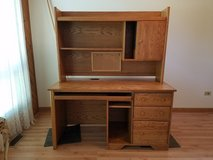 Oak Desk with Hutch and Chair in New Lenox, Illinois