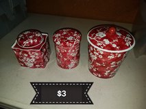 Red canisters set in Vacaville, California