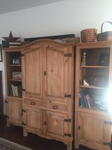 **Price Reduced** Solid pine entertainment center armoire and bookshelves in Fairfield, California