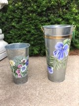 NEW!  LARGE and MEDIUM HANDPAINTED TIN VASES CONTAINERS in Westmont, Illinois