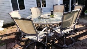 6 outdoor patio chairs /umbrella stand and table not include it in Shorewood, Illinois