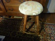 Bar stools 2 with tapestry tops and oak bottom in Los Angeles, California