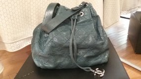 Chanel Blue/Green Glazed Leather On-the-Road Drawstring Tote Bag 100% Authentic in Los Angeles, California