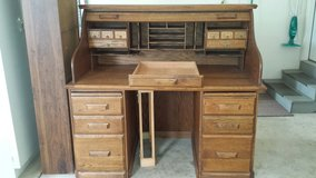 Oak roll top desk and chair in Naperville, Illinois