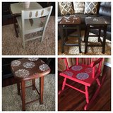 Hand painted kitchen/bar stool set, toddler table/chair set, rocking chair in Shorewood, Illinois