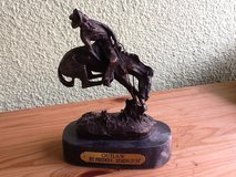 """Outlaw"" by Frederic Remington Bronco Rider Statue in Ramstein, Germany"