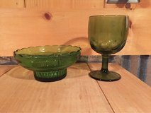 Green Glass Bowl and Goblet in Byron, Georgia