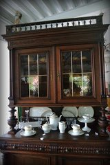 elegant Henri II dining room hutch with stained glass in Ramstein, Germany