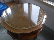 Vintage Wooden Leather Table With Glass Top in New Lenox, Illinois