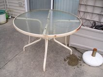 GLASS TOPPED PATIO TABLE in Naperville, Illinois