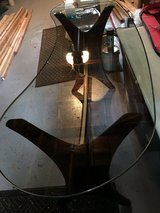 Glass Curved Top / Wooden Frame Stand in St. Charles, Illinois