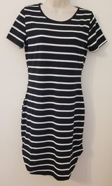 NWT ChicMe Dress S/M Womens T Shirt Dress Black White Striped Thin Short Sleeve  BBQ Su... in Houston, Texas