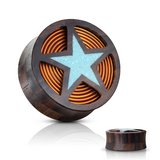 Crushed turquoise filled star plugs body jewelry in Camp Lejeune, North Carolina