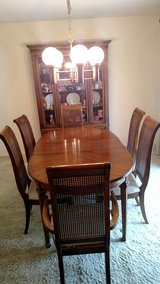 Solid Pecan dining set--table with leaf, 6 chairs, buffet and China cabinet in Great Lakes, Illinois