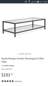Gray metal glass coffee table in Bartlett, Illinois