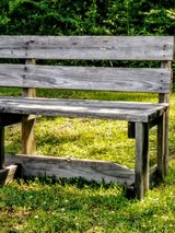 beautifully weathered garden bench in Cherry Point, North Carolina