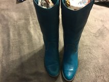 Womens Soft Leather Cowboy Boots Turquoise in Travis AFB, California