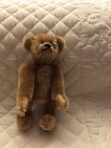 "MOHAIR TEDDY PERFUME BOTTLE. Miniature 41/4"" Limited edition and signed in Houston, Texas"
