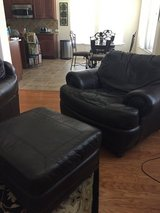 Real leather couch, love seat, chair, and ottoman in Kingwood, Texas