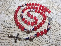 Rosary Boston Red Sox Red White with Navy Accent Baseball Pater Beads Silver Medal Crucifix Neck... in Kingwood, Texas