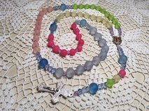 Rosary Pastel Colored Beads Rainbow Colors Our Lady of Guadalupe Full Color Medal Italian Silver... in Kingwood, Texas