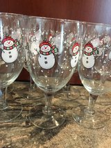 Snowmen Glass Water/Wine Goblets in Bolingbrook, Illinois