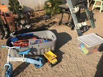 Bin of toys in 29 Palms, California