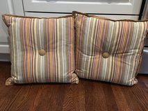"Pair of Striped Cotton Pillows (16"" square) with Center Button in Chicago, Illinois"
