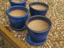 Set of 4 Blue Glazed PLANT POTS with saucers; measure 12 inch Diameter & 10 inches high in Lakenheath, UK