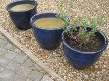 Set of 3 Blue Glazed Plant Pots measuring 18 inch diameter and approx 14 inches high in Lakenheath, UK