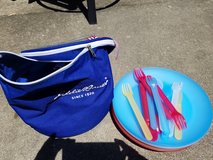 Picnic plates and bag in Plainfield, Illinois