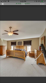 King bedroom set bed frame tall dresser, long dresser with mirror, night stands in Morris, Illinois