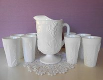 White Milk Glass Pitcher & 8 Tumblers Colony Harvest Indiana Glass in Vacaville, California