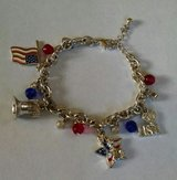 Charm Bracelet USA PATRIOTIC Flag, Liberty Bell Silver Plate AVON in Lawton, Oklahoma