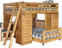 Through the Barn Door Solid Wood Bunk Beds with built in shelves and clothing drawers. in Sanford, North Carolina