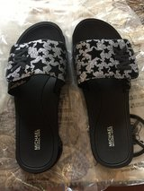 New Michael Kors Star Patterned Slide Sandal in Black/Silver - Size 11M - In Box in Glendale Heights, Illinois