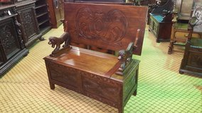 Carved Oak Monks Bench with lion arm rests others available Free Delivery in Lakenheath, UK