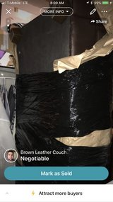 Brown Leather Couch NO RIPS in Fort Drum, New York