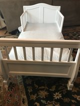 Wht Wood Toddler Bed+Mattress in Oswego, Illinois