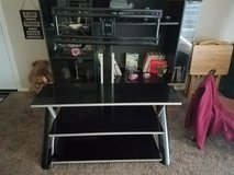 REDUCED TO SELL**BEAUTIFUL ALL GLASS MODERN T.V. STAND WITH SUPPORT EXTENSION** in Lackland AFB, Texas