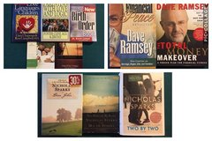 Nicholas Sparks, Dave Ramsey, and Christian parenting books in Fort Leonard Wood, Missouri