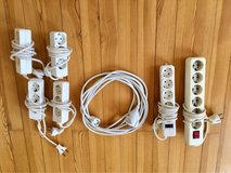 Multiple adapters and 220V extension cords in Ramstein, Germany