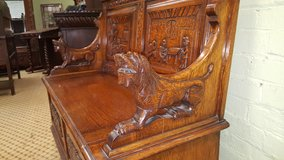 Stunning Carved Oak Bench others available Free Delivery in Lakenheath, UK