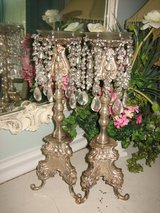 ROMANTIC silver candlesticks with dangling beads and prisms in Bolingbrook, Illinois
