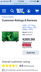 "Brand new 43"" Vizio tv in Plainfield, Illinois"