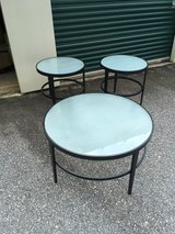 Set of 3 round glass top table. Coffee table & 2 side tables in Fort Benning, Georgia